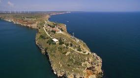 Widok z lotu ptaka przylądek Kaliakra w Czarnym morzu zdjęcie stock