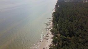 Widok z lotu ptaka przylądek Kolka, morze bałtyckie, Latvia zdjęcie wideo