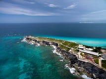 Widok z lotu ptaka Punta Sura, Isla Mujeres - zdjęcie royalty free