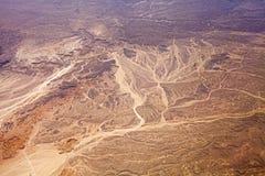 Widok z lotu ptaka pustynia, natury tło fotografia stock