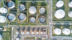 Widok z lotu ptaka rafineria ropy naftowej Obraz Stock