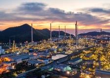Widok z lotu ptaka rafineria ropy naftowej Przemysłowy widok przy rafinerii ropy naftowej rośliną f Fotografia Stock