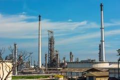 Widok z lotu ptaka rafineria ropy naftowej Przemysłowy widok przy rafinerii ropy naftowej rośliną f Obrazy Stock