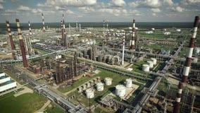 Widok z lotu ptaka rafinerii ropy naftowej roślina zbiory wideo