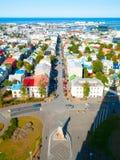 Widok z lotu ptaka Reykjavik z wierzchu Hallgrimskirkja kościół, Iceland Zdjęcia Royalty Free