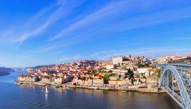 Widok z lotu ptaka Ribeira, Oporto, Portugalia Fotografia Royalty Free