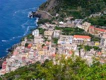 Widok z lotu ptaka Riomaggiore, Cinque Terre, losu angeles Spezia prowincja, Włochy obraz royalty free