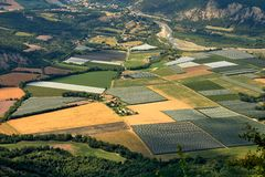 Widok z lotu ptaka rolnictwo krajobraz Fotografia Stock
