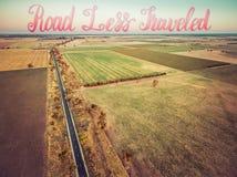 Widok z lotu ptaka rolniczy region przy zmierzchem - prostokąty fie Fotografia Royalty Free