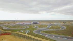 widok z lotu ptaka Rosjanina Karting mistrzostwo Na Yevpatoriya trasie zdjęcie wideo