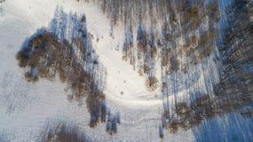Widok z lotu ptaka rosyjski zima krajobraz z długich cieni Odgórnym widokiem Zdjęcie Royalty Free