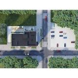 Widok z lotu ptaka rozdroża i miasteczka budynek, 3d odpłaca się Zdjęcie Royalty Free
