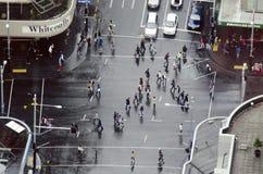 Widok z lotu ptaka ruch drogowy na królowej ulicie w Auckland Nowa Zelandia Obraz Royalty Free
