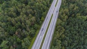 Widok z lotu ptaka ruchliwie droga w Sosnowu Polska Obrazy Royalty Free