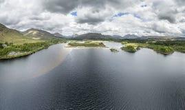 Widok z lotu ptaka ruiny historyczny Kilchurn Loch i kasztelu respekt fotografia stock