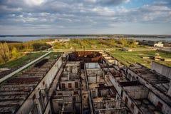 Widok z lotu ptaka rujnująca zaniechana budowa elektrownia jądrowa Obrazy Royalty Free