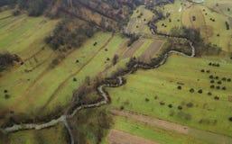 Widok z lotu ptaka Rumuński krajobraz podczas dnia opóźniona jesień Obraz Stock