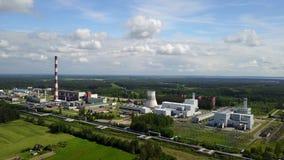 Widok z lotu ptaka Ryski TEC -2 elektryczności elektrowni trutnia odgórnego widoku 4K UHD wideo zdjęcie wideo