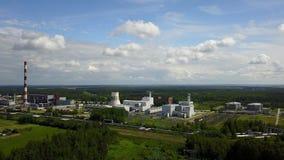 Widok z lotu ptaka Ryski TEC -2 elektryczności elektrowni trutnia odgórnego widoku 4K UHD wideo zbiory