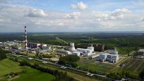 Widok z lotu ptaka Ryski TEC -2 elektryczności elektrowni trutnia odgórnego widoku 4K UHD wideo zbiory wideo