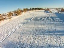 Widok z lotu ptaka rzeczny Mologa blisko wioski Fabrika fotografia stock