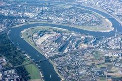 Widok z lotu ptaka Rzeczny Rhine, Dusseldorf Fotografia Stock