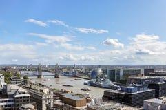 Widok z lotu ptaka Rzeczny Thames w Londyn Zdjęcia Stock