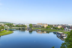 Widok z lotu ptaka rzeczny Vistula w Krakow Obraz Stock
