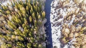 Widok z lotu ptaka rzeka w lesie z ?niegiem wzd?u? bank?w fotografia royalty free