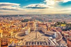 Widok z lotu ptaka Rzym od świętego Peter katedry fotografia stock