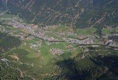 Widok z lotu ptaka Sölden w Ã-tztal dolinie Tyrol, Austria obrazy royalty free