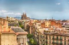 Widok z lotu ptaka Sagrada Familia, Barcelona, Catalonia, Hiszpania zdjęcia royalty free