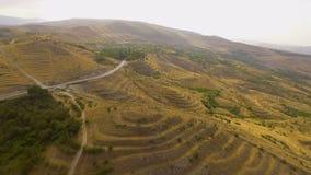 Widok z lotu ptaka samochodu jeżdżenie wzdłuż pustej drogi na wzgórzach w Armenia, odtwarzanie zbiory