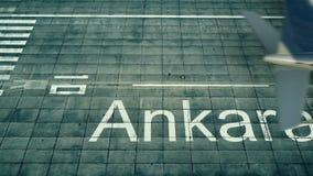 Widok z lotu ptaka samolot przyjeżdża Ankara lotnisko Podróż Indyczy 3D rendering royalty ilustracja