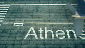 Widok z lotu ptaka samolot przyjeżdża Ateny lotnisko Podróż Grecja 3D rendering Obrazy Stock