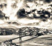 Widok z lotu ptaka San Fransisco Golden Gate Bridge od helikopteru obrazy royalty free