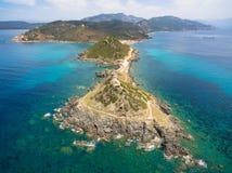 Widok z lotu ptaka Sanguinaires żądny krwi wyspy w Corsica, Fra Obrazy Royalty Free