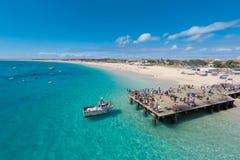 Widok z lotu ptaka Santa Maria plaża w Sal przylądku Verde, Cabo - Verde zdjęcia royalty free
