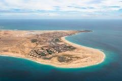 Widok z lotu ptaka Santa Maria w Sal wyspy przylądku Verde, Cabo - Verde Zdjęcie Stock