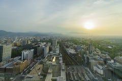 Widok z lotu ptaka Sapporo miasta śródmieście obraz royalty free