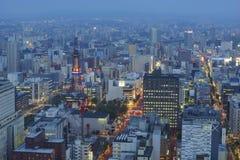 Widok z lotu ptaka Sapporo miasta śródmieście zdjęcie stock