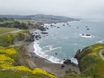 Widok Z Lotu Ptaka Sceniczny Północnego Kalifornia wybrzeże Fotografia Royalty Free
