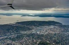 Widok Z Lotu Ptaka Seattle od samolotu w Waszyngtońskim Stany Zjednoczone Ameryka Zdjęcia Royalty Free