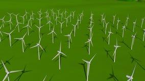Widok z lotu ptaka set turbiny tworzy farmę wiatrową na zielenieje pole w ciągu dnia ilustracji