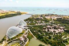 Widok z lotu ptaka Singapur od ferris koła blisko Marin Fotografia Stock