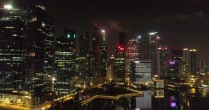 Widok z lotu ptaka Singapur przy nocą zbiory
