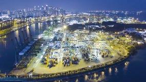 Widok z lotu ptaka Singapur zbiornika port fotografia royalty free