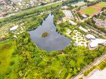 Widok z lotu ptaka Sireeruckhachati natury uczenie park Zdjęcia Stock