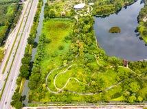 Widok z lotu ptaka Sireeruckhachati natury uczenie park Obraz Royalty Free