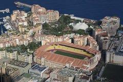 Widok z lotu ptaka Stade Louis II i Fontvieille obraz royalty free